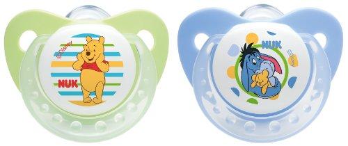 NUK 10175089 Silikon Beruhigungssauger, Schnuller, Disney Winnie Trendline mit Ring, Größe 1, 0-6 Monate, BPA-frei, 2 Stück, grün/blau