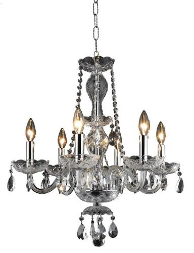 Cheap Elegant Lighting 7836D20C/RC Princeton 22-Inch High 6-Light Chandelier, Chrome Finish with Crystal (Clear) Royal Cut RC Crystal