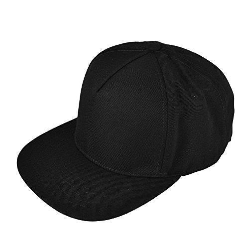 (DALIX Premium 5 Panel Wool Blend Hat Flat Bill Cap Snapback (Black))