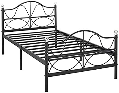 VECELO Bed Frame Metal Platform Mattress Foundation/Box Spring Replacement Headboard, Deluxe Crystal Ball Stylish