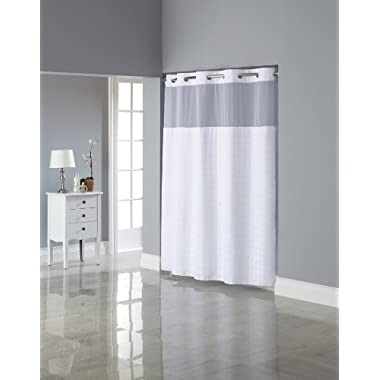 Hookless Square Tile Jacquard Shower Curtain with Snap-In Fabric Liner, White