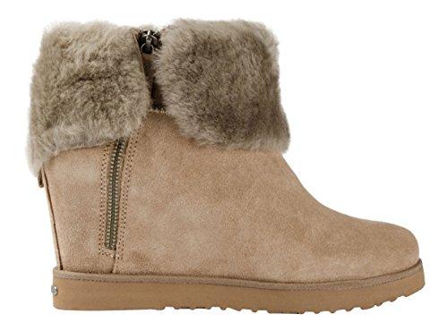 Koolaburra Winter Stiefel Boots Wedge LA Volta 22LAV-Sta Creme Fell Leder