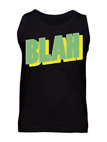 BLAH Yellow and Green Comic Style Text Men's Tank Top