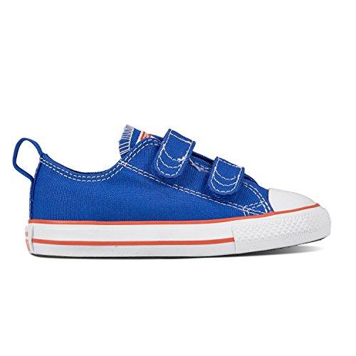Strap Hyper Rubber (Converse Baby Chuck Taylor All Star 2V Seasonal Low Top Sneaker, Hyper Royal/Bright Poppy/White, 2 M US Infant)