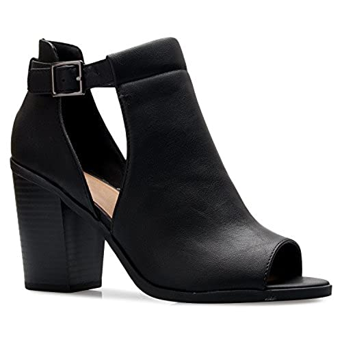 688af74eb OLIVIA K Women's Peep Toe Side Cutout Buckle Zipper Closure Stacked Heel  Ankle Boot Bootie good