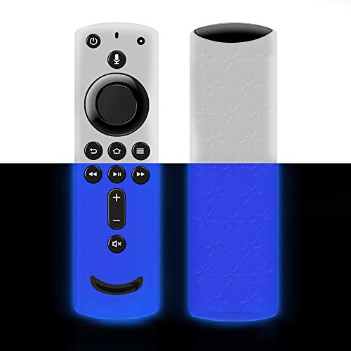 Remote Cover for Fire TV Stick 4K, Silicone Remote case for Fire TV Cube/Fire TV(3rd Gen) Compatible with All-New 2nd Gen Alexa Voice Remote Control, Lightweight Anti-Slip Shockproof (Blue Glow)