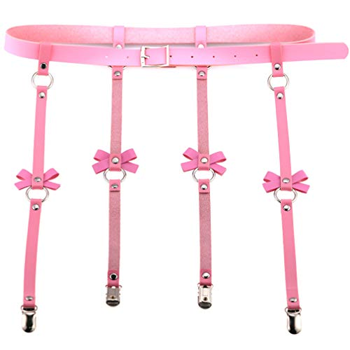 Adjustable Sexy Elasticity Leg Harness Garter Belts Punk Gothic Thigh Ring Garter with Metal Clip (Alligatar Clips, Pink)