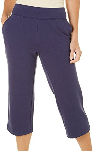 Coral Bay Womens French Terry Pull On Capris X-Large Eclipse (French Capris)