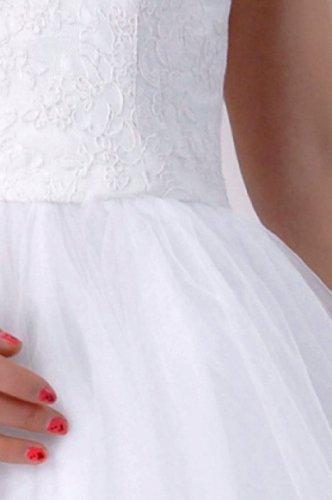Dentelle Bretelles Sans Manches Natrual De Courte Rouge Bateau Robe De Mariée
