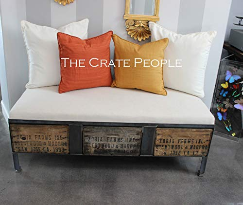 (Zoria Crate Ottoman Bench - vintage wood crates with fabric top - Custom Made Furniture)