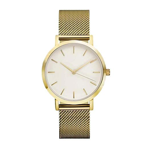 (Redvive Fashion Women Crystal Round Dial Stainless Steel Strap Watch Analog Quartz Wrist Watch Bracelet. (Golden))