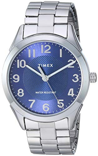 Timex Men's TW2T46100 Briarwood 40mm Silver-Tone/Blue Stainless Steel Expansion Band Watch