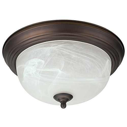 Alabaster Swirl Glass Shades Light - Oil Rubbed Bronze Flush Mount Ceiling Light Fixture Globe 13