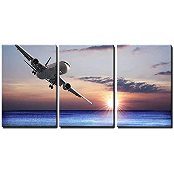 wall26 - 3 Piece Canvas Wall Art - Jet Aircraft Over The Sea - Modern Home Decor Stretched and Framed Ready to Hang - 16