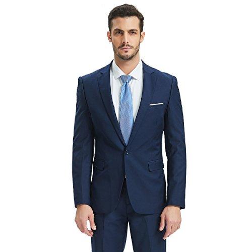 Henoo Mens Suit 2 Piece Set - Slim Fit Blazer Jacket Vest Suit Pants Set for Business, Wedding, Party