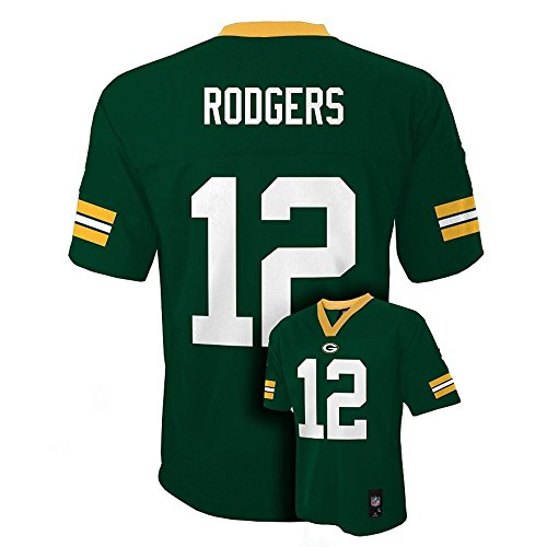 Aaron Rodgers Green Bay Packers NFL Kids Sizes 4-7 Jersey Green (Kids Large Size 7)