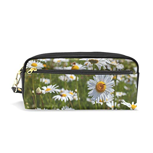 Jnseff Pencil Case Stylish Print Daisies Flowers Plant Bloom White Wild Flowers Art Pattern Large Capacity Pen Bag Makeup Pouch Durable Students Stationery Two Pockets with Double Zipper -