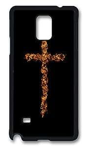 Samsung Galaxy Note 4 Case, Flame Art Cross Rugged Case Cover Protector for Samsung Galaxy Note 4 N9100 Polycarbonate Plastics Hard Case Black