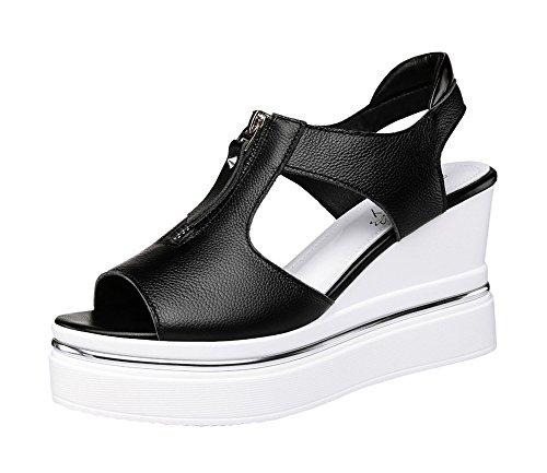 Passionow Women's Cool Zipper Design Ankle-Strap Open-Toe Wedge Heel Sandals