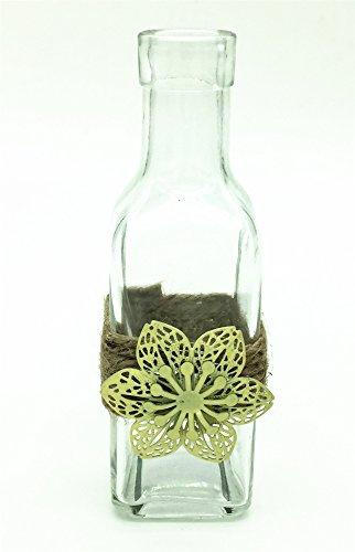 Glass Lavender Vintage (V-More Small Vintage Glass Bottle Flower Bud Vase with Jute Rope and Metal Flower For Home Decor Wedding Party Celebration (4, Transparent))