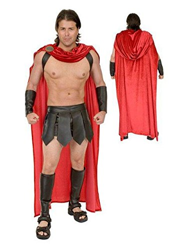Spartan Costumes Warrior (Charades Men's Spartan Warrior with Accessories, Brown/Red,)