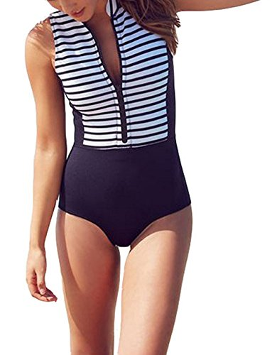 QIANMEI Women's High Neck Zip Front Striped One Piece Sleeveless Rash Guard Swimsuit Sun Protection