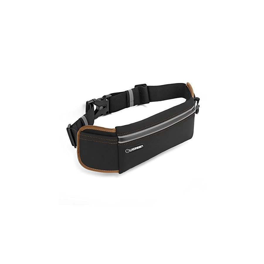 UGREEN Running Belt Pouch Runners Fanny Pack Waist Bag for iPhone X, iPhone 8, iPhone 7 Plus, iPhone 6S 6 Plus, Samsung Galaxy S9 S8 S7 S6 Edge, Waterproof and Reflective
