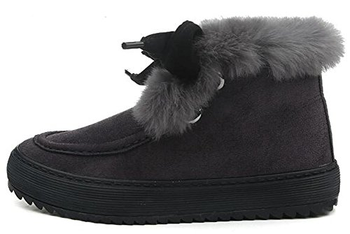 Fleece Boots up Short Faux Lace Bowknot Suede Summerwhisper Flats Gray Women's Sweet Shoes Lined Snow Fur g1zaw