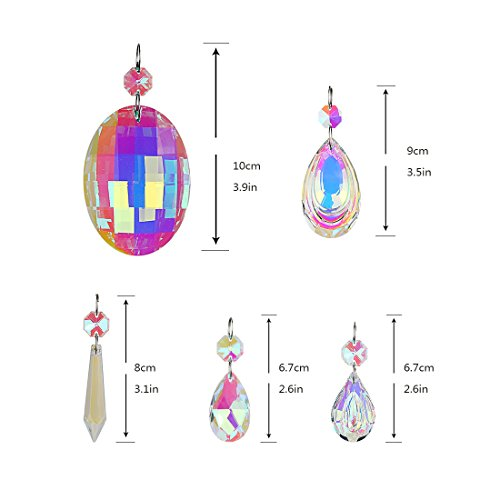 H&D 18pcs Colorful Lamp Prisms Parts with Octagon Bead Chandelier Glass Crystals Hanging Drops Pendants by H&D (Image #1)