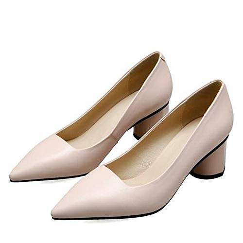 Comfort Nappa ZHZNVX Beige Leather Women's Heels Black Beige Spring Chunky Shoes Heel Pink wqEX6ES