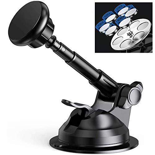 CHAMPLED Car Cell Mobile Smart Phone Mount Metal Telescopic Adjustable Extendable Arm Dashboard Suction Cup Windshield Holder Cradle Magnetic Stand Fits Apple iPhone Samsung Sony HTC LG Huawei Nexus