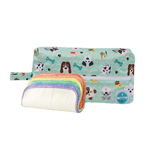 Luludew Reusable Wipe Bag Set for Cloth Diapering – Printed Travel Bag with 1-Ply Wipes (12 Pack) (Woof)