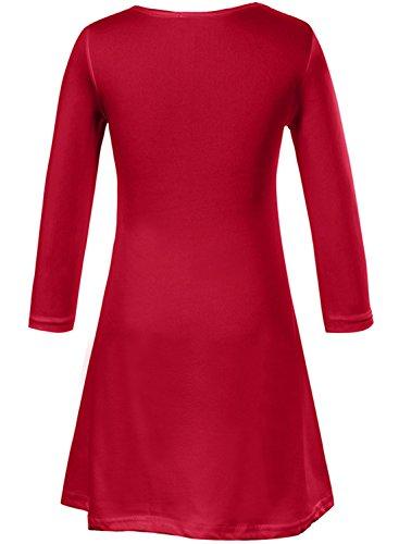 Azbro Mujer Navidad Vestido Estampado de Copo de Nieve A-línea Rojo 1