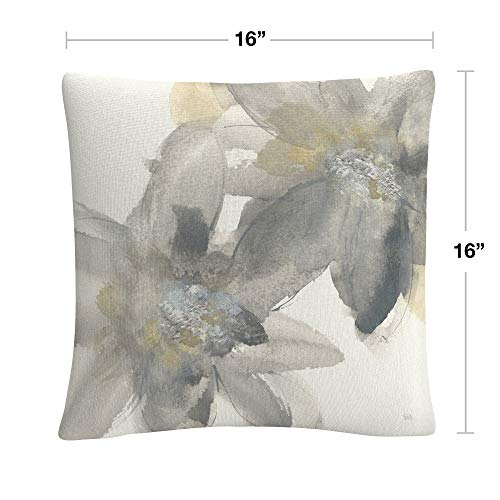 Trademark Fine Art Gray and Silver Flowers II by Chris Paschke, 16x16 Decorative Throw Pillow