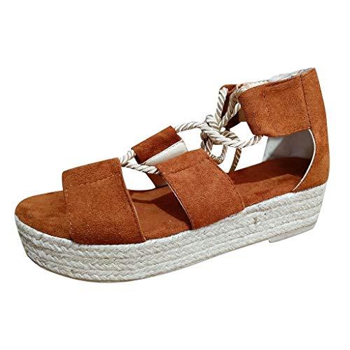 St.Dona_Shoes Womens Espadrille Wedge Sandals Ankle Strap Lace Up Slingback Platform Heeled Sandals Brown