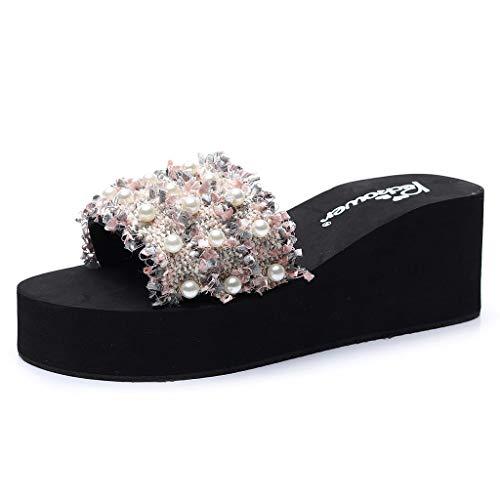 AOJIAN Shoes Women's Sandals Rhinestone Wedges Bohemian Flip Flop Slide Slipper Clog Mule - Clog Yarn