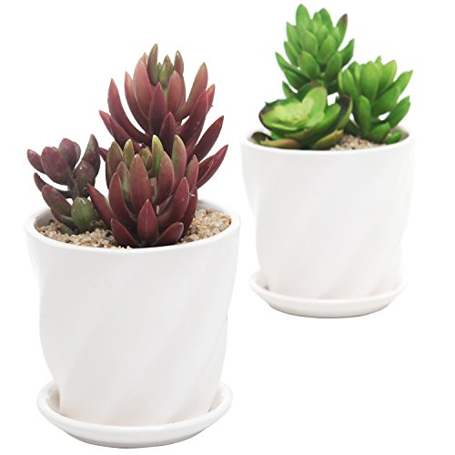 Set of 2 Contemporary Round White Ceramic Succulent Planter Pots w Twisted Design