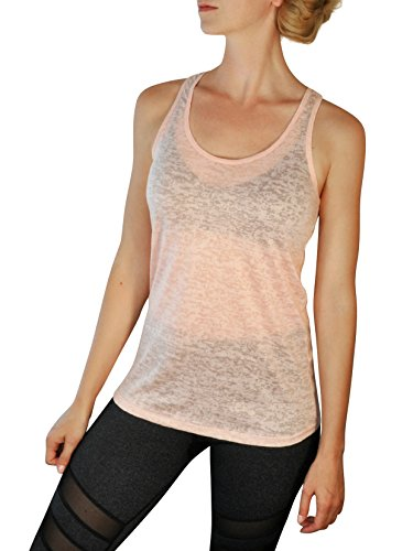 Comfy Yoga Tops - Soft Burnout Racerback Tank Top - Sheer Dryfit Workout Shirt For Women (Large, Apricot)