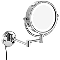 GURUN 8.5 Inch LED Lighted Wall Mount Makeup Mirrors with 5x Magnification,Chrome M1809D(8.5in,5x)