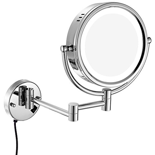 (GURUN 8.5 Inches Wall Mounted Lighted Magnifying Mirror Two-Sided Swivel with 7X Magnification)