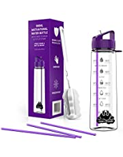 Water bottle with straw - Motivational water bottles with times to drink; time markings measurements for Sports Gym Office - BPA free leak proof reusable Tritan plastic + Extra Straws + Cleaning brush