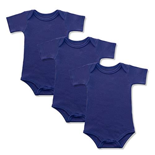 GLEAMING GRAIN 3-Pack Soft Cotton Newborn Boys Bodysuit Short Sleeved Colored Baby Onesie (12M, Navy-Blue)