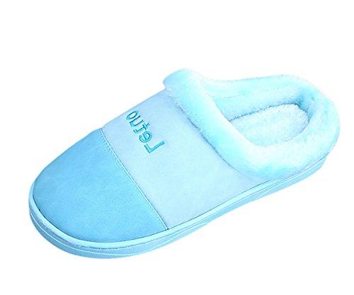 Morbido Pattini Insun Autunno Scarpe Infradito Casa Inverno Peluche Caldo Home Unisex Pantofole Chiaro Blu 1qn1xwzBrP