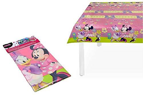 PEQUEFIESTA 00326; Mantel Fiesta y cumpleaños Disney Minnie Mouse, Rosa; Producto de plático; Dimensiones 120x180 cm