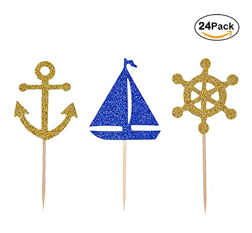 Nautical Theme Cupcake Toppers Food Picks of Gold Glitter Blue Boat Anchor Rudder Cake Top Decorations for Birthday Baby Shower Wedding by Ucity, 24 Counts