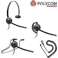 Polycom Compatible Plantronics VoIP Noise Canceling EncorePRO 530 HW530 Headset Bundle for Polycom IP 320 321 330 331 Phones