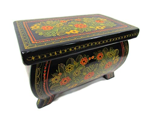 The Reliquary of Treasures Olinala Hand Lacquered & Painted Carved Incised Large Rectangular Footed Lacquerware Wooden Jewelry Trinket Stash Box Crafted in Guerrero, Mexico (Yellow ()