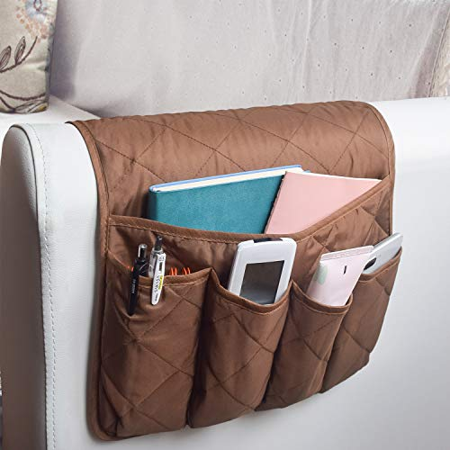 MDSTOP Sofa Couch Chair Armrest Organizer, Fits for Phone, Book, Magazines, TV Remote Control (Coffee) (Slipcovered Furniture)