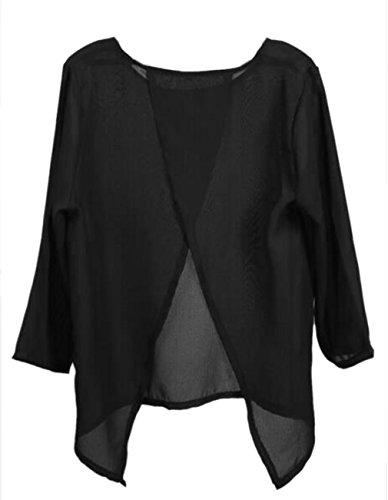 3 Dcontracte Lache Dcollet Blouses Tee en de Soie Fashion O T Mousseline Mesdames Shirts Backless Noir Fit Top Chemise HU5qw5A