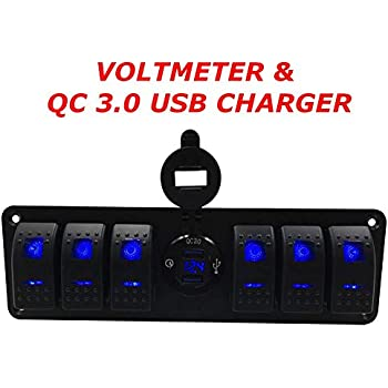 Switchtec 4 6 Gang Rocker Switch Panel w/QC 3.0 USB Charger & Voltmeter, Blue Backlit LED, Pre-Wired, Waterproof Components for Boat, Marine, Car, ...
